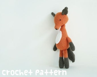 crochet pattern - fox amigurumi - kawaii plushie woodland stuffed animal diy baby shower gift - (instant download)