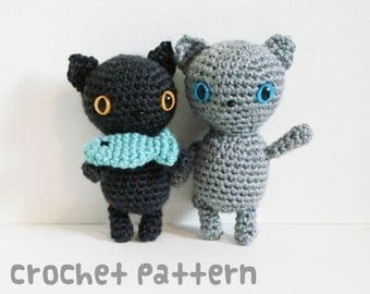 crochet pattern - kitty feast amigurumi - kawaii cats stuffed animal fish plushie toy dolls - (instant download)