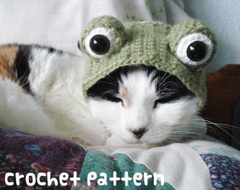 crochet pattern - frog pet hat - halloween costume cat toad froggy amigurumi kawaii small dog chihuahua disguise - (instant download)