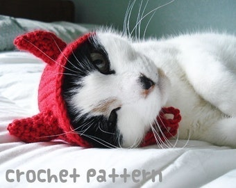 crochet pattern - devil horns pet hat - halloween costume cat amigurumi kawaii small dog chihuahua disguise - (instant download)