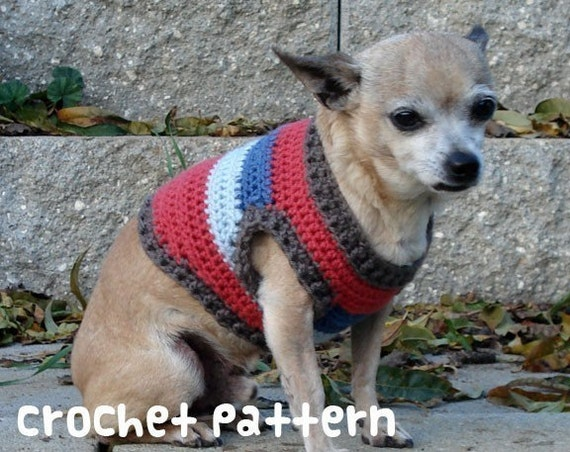 Free Crochet Pattern Chihuahua Sweater : CROCHET PATTERN Dog Sweater PDF Instant Download Cute