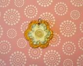 Tangerine Flower Polymer Clay Pendant