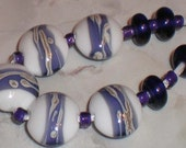 White and Purple Lampwork Lentils