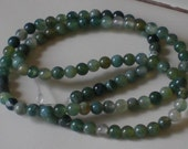 Natural Moss Agate Beads
