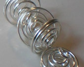 Silver Plated Spiral Cage Beads (6)