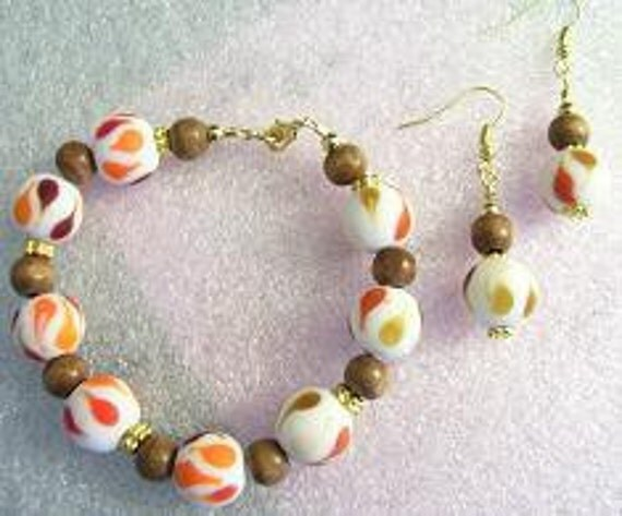 Vanilla Sky Gold Earrings & Bracelet FREE SHIPPING