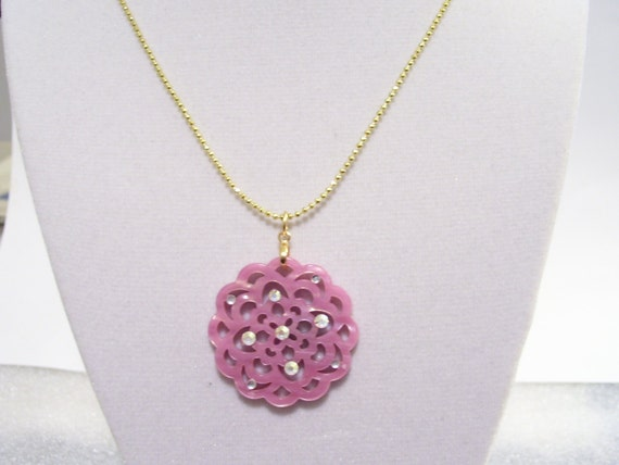 Pink Bohemian Floral Gold Chain Necklace