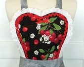 Retro Apron Sweetheart Vintage Style Hostess Apron Black Cherries and Gingham