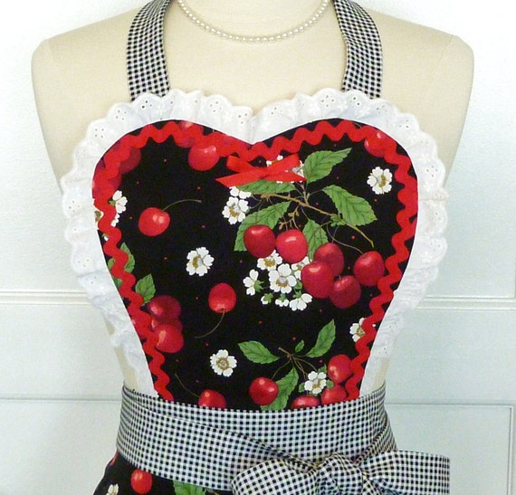 Retro Apron Sweetheart Vintage Style Hostess Apron Black Cherries and Gingham