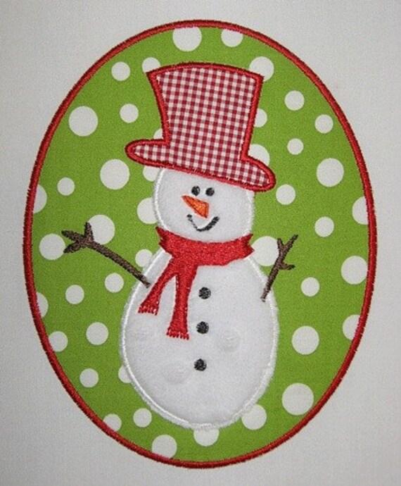 Snowman patch machine embroidery applique design