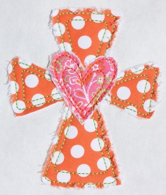 311 Heart Cross Machine Embroidery Applique Design