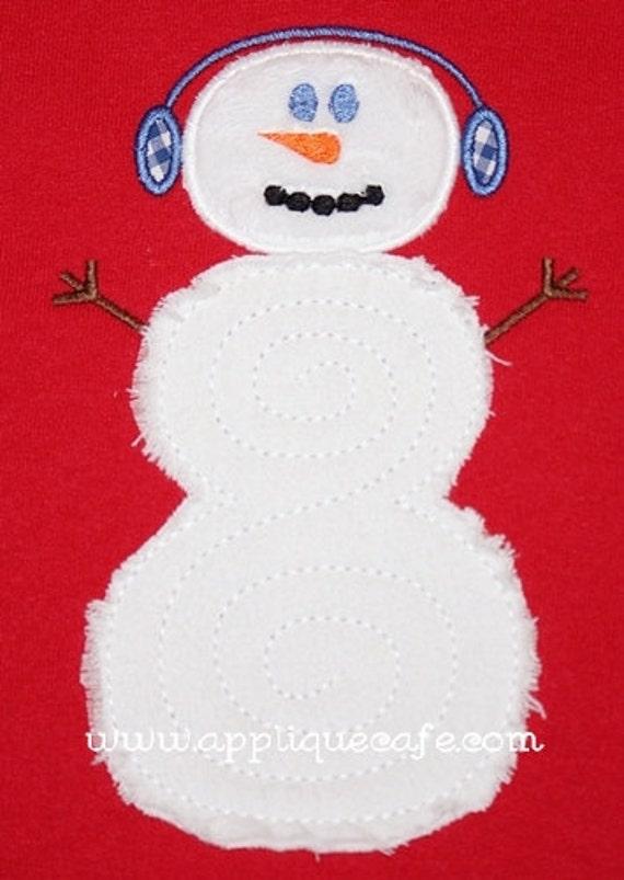 Swirly snowman machine embroidery applique design