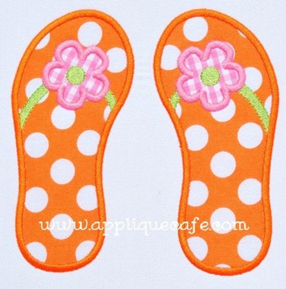 307 Flower Flip Flops Machine Embroidery Applique Design