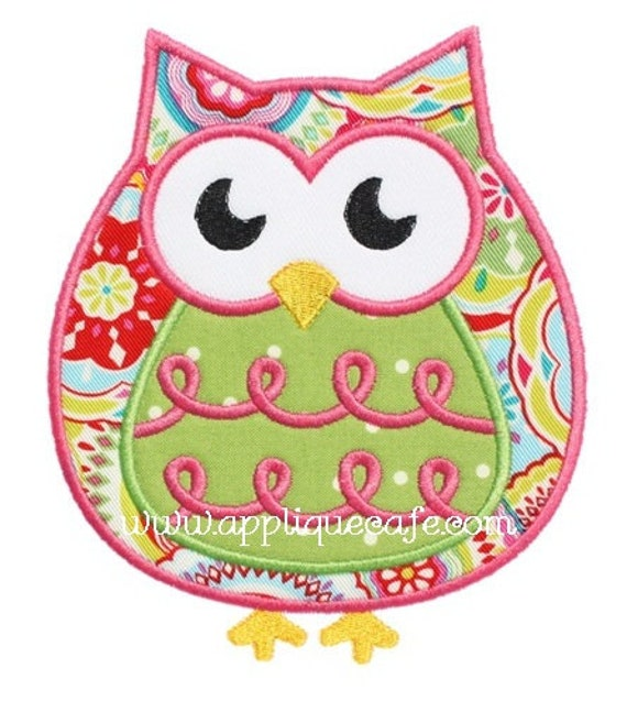 471 Owl Machine Embroidery Applique Design