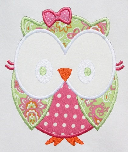 Girly owl machine embroidery applique design