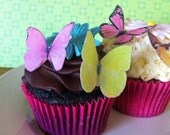 EDIBLE Butterflies - The Original Wedding Cupcake Toppers and Cake Decor - Small Pink, Yellow, Orange - PRECUT and Ready to Use