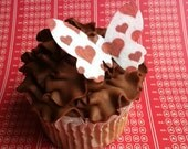 EDIBLE BUTTERFLIES - Valentine Red Hearts -Cake & Cupcake toppers - Food Decorations