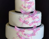 Edible Dragonflies - Assorted Pink- Cake and Cupcake toppers - set of 30 precut