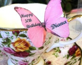 The Original EDIBLE BUTTERFLIES - Personalized Medium Pink - Cake & Cupcake toppers - Food Decorations