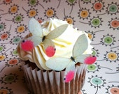 The Original EDIBLE BUTTERFLIES - Small Pink and White - Cake & Cupcake toppers - Food Decorations