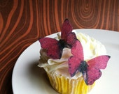 EDIBLE Butterflies The Original -Small Red - Cake & Cupcake toppers - PRECUT and Ready to Use
