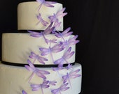 Wedding Cake Topper Edible Dragonflies - Assorted Purple- Cake and Cupcake toppers - set of 30 precut