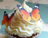 The Original EDIBLE BUTTERFLIES -12  small orange monarch - Cake & Cupcake toppers - Food Decoration