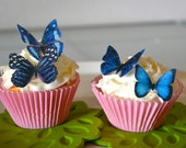 Wedding Cake Topper 12 Blue Edible Butterflies - Edible Butterflies for Cake and Cupcakes - Edible Cupcake Decoration