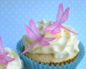 Hochzeitstorte Topper Mini ESSBARE LIBELLEN in Rosa - Kuchen & Cupcake Topper - Essen-Zubehör