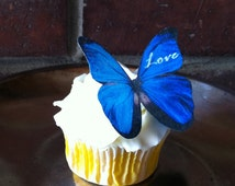 Personalized Edible Butterflies - Blue Love - Valentine Cake & Cupcake Edible Decoration