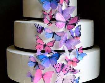 Wedding Cake Topper The Original EDIBLE BUTTERFLIES Cake & Cupcake toppers  - Assorted Pink and Purple - set of 30 - Food Accessories