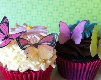 EDIBLE Butterflies The Original - Small Pink, Yellow, Orange - Cake & Cupcake toppers - PRECUT and Ready to Use