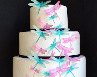 Edible Dragonflies - Assorted Pink and Turquoise - Cake and Cupcake toppers - set of 30 precut