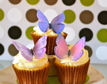 Wedding Cake Topper Large Assorted Purple EDIBLE BUTTERFLIES - Wedding Cake & Cupcake toppers