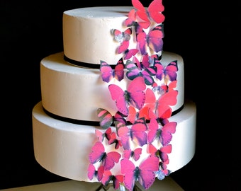 EDIBLE Valentine's Butterflies - Valentine Cake and Cupcake Decorations - Edible Butterflies for Cakes