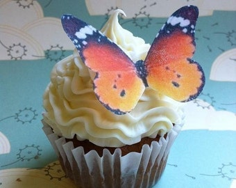Wedding Cake Topper EDIBLE Butterflies The Original - Wedding Cake & Cupcake toppers - Large Orange Monarch - PRECUT and Ready to Use