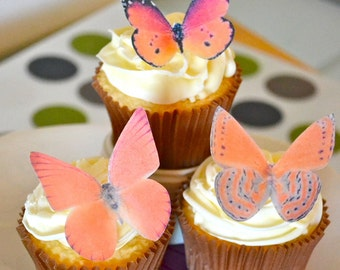 The Original EDIBLE BUTTERFLIES - Large Assorted Orange - Cake & Cupcake toppers - Food Decoration