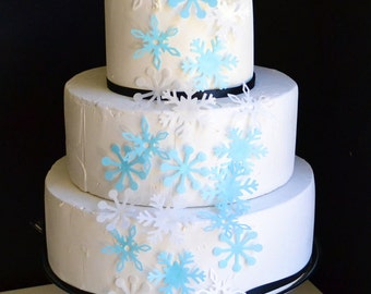 Edible Snowflakes - Cake and Cupcake Toppers Set of 12 Blue and White