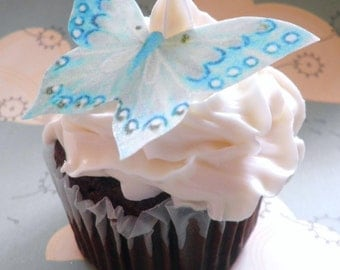 Wedding Cake Topper EDIBLE Butterflies - Wedding Cake & Cupcake toppers - Large Aqua - PRECUT and Ready To Use