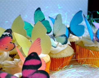 Wedding Cake Topper EDIBLE BUTTERFLIES - Large Rainbow Assortment - Butterfly Cake & Cupcake Toppers - Edible Cake Decorations