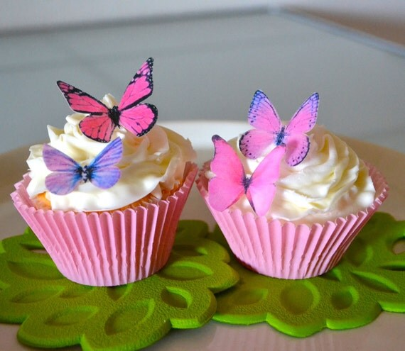 24 EDIBLE Butterflies The Original- Small Pink and Purple  -  Cake & Cupcake toppers - Food Decorations - PRECUT and Ready to Use