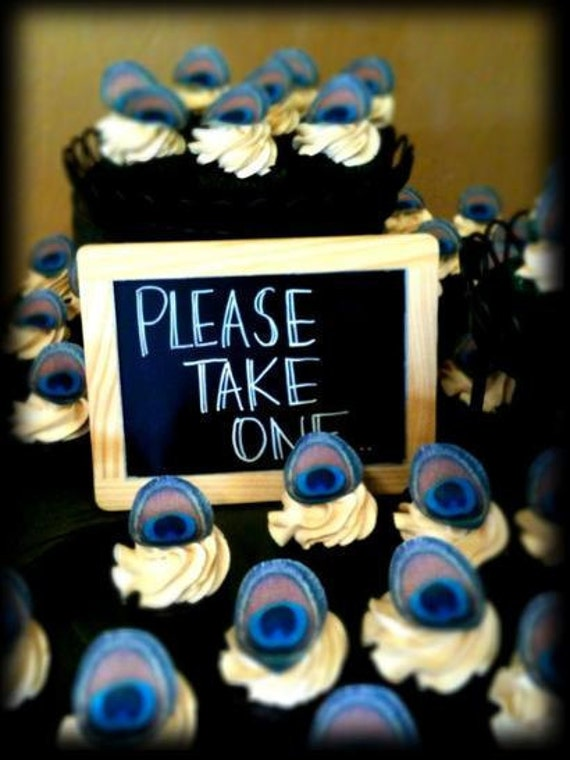 Edible Peacock Eye Feathers - 1 dozen - Cake & Cupcake toppers - Food Decoration