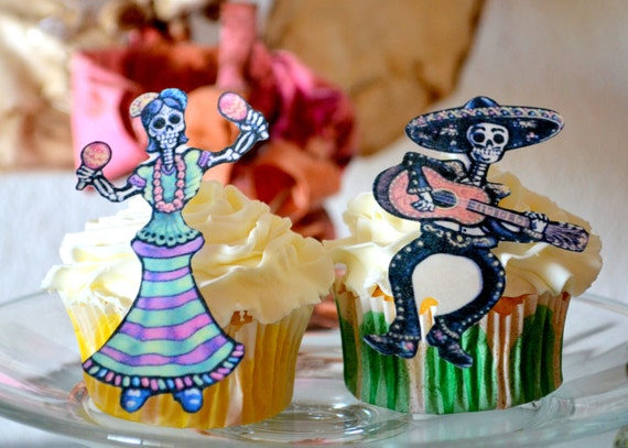 The Original Edible Skeletons - 1 doz Dia De Los Muertos - Cake & Cupcake toppers - Food Accessories