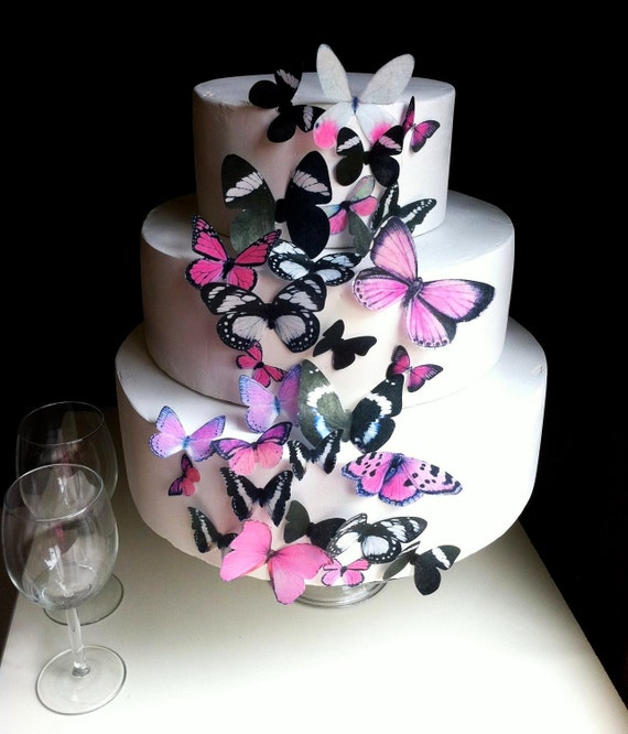 Wedding Cake Topper The Original EDIBLE BUTTERFLIES - Assorted Black and Pink  set of 30 - Cake & Cupcake toppers - Food Accessories