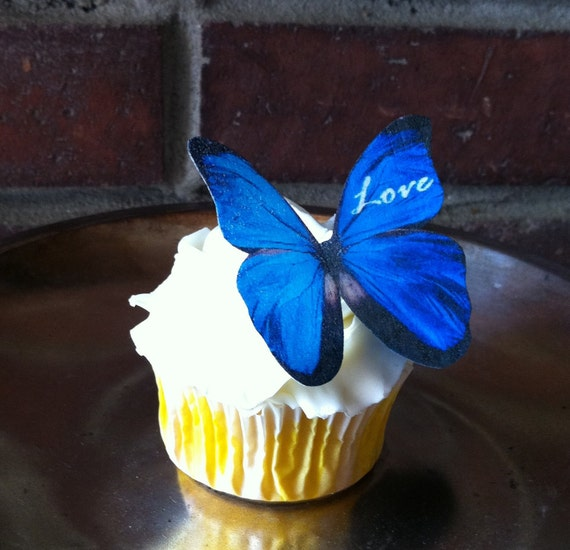 Wedding Cake Topper The Original EDIBLE BUTTERFLIES  - Blue Love Personalized - Cake & Cupcake toppers - Food Accessories