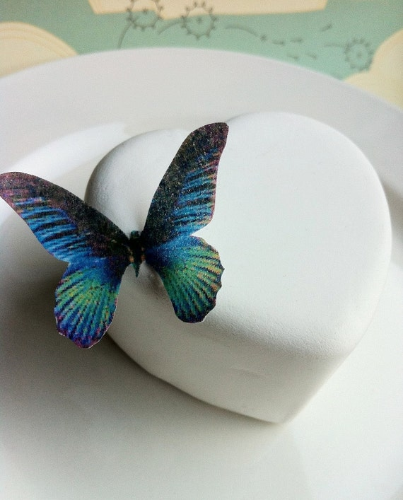 The Original EDIBLE BUTTERFLIES- small Blue Green - Cake & Cupcake toppers - Food Decorations