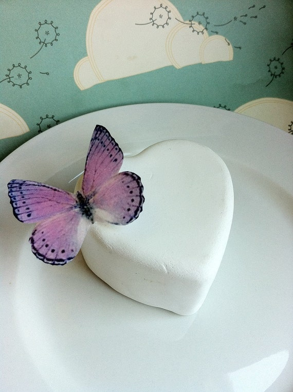 Wedding Cake Topper Light Purple and Black Edible Butterfy Cupcake Topper - Wedding Cake Decoration