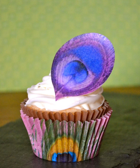 Edible Peacock Eye Feathers The Original- Dark Purple & Magenta - Cake and Cupcake toppers - Food Decorations