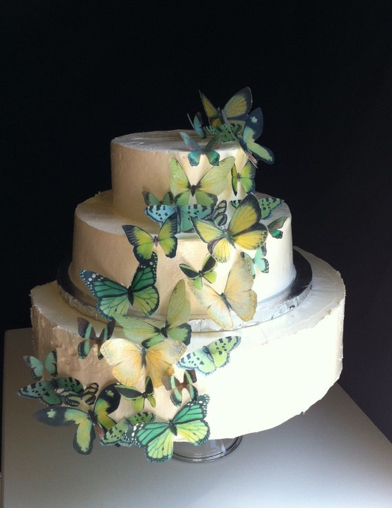 Wedding Cake Topper The Original EDIBLE BUTTERFLIES - Assorted Green set of 30 - Cake & Cupcake toppers - Food Accessories