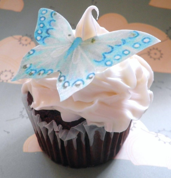 EDIBLE Butterflies The Original - Large Aqua - Cake & Cupcake toppers - PRECUT and Ready To Use